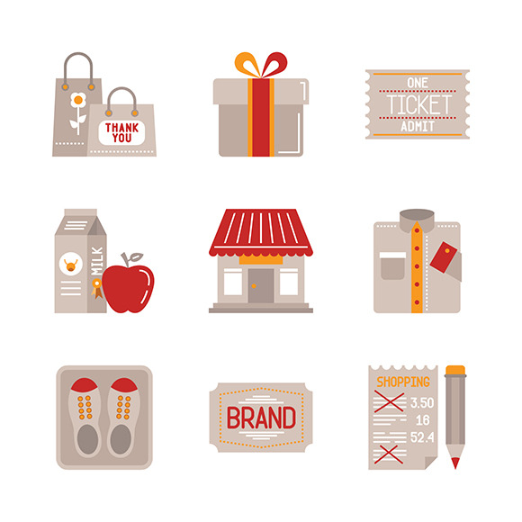 Shopping Icons In Flat Style