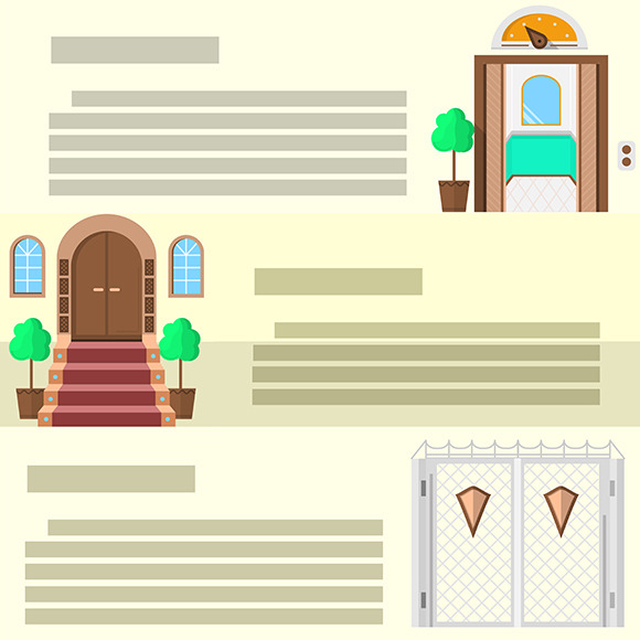 Entrance flat vector icons. Part 3 - Icons