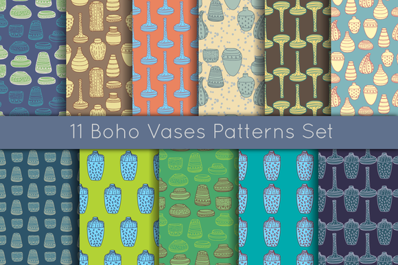 11 Boho Vases Patterns Set