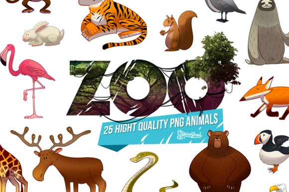 ZOO : 25 cartoon animal png HD pack ~ Graphics on Creative Market