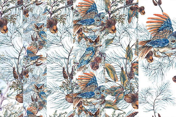 Winter Seamless Pattern With Owls