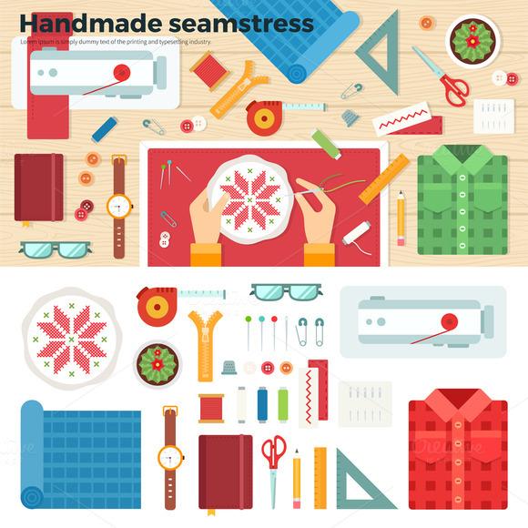 Tools for Handmade. Seamstress - Illustrations