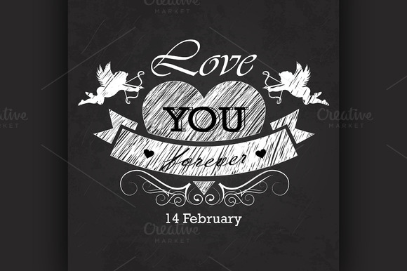 Valentines Day Emblem On Blackboard