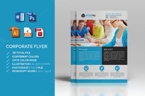 Corporate flyer ms word flyer templates on creative market for Ms word brochure template