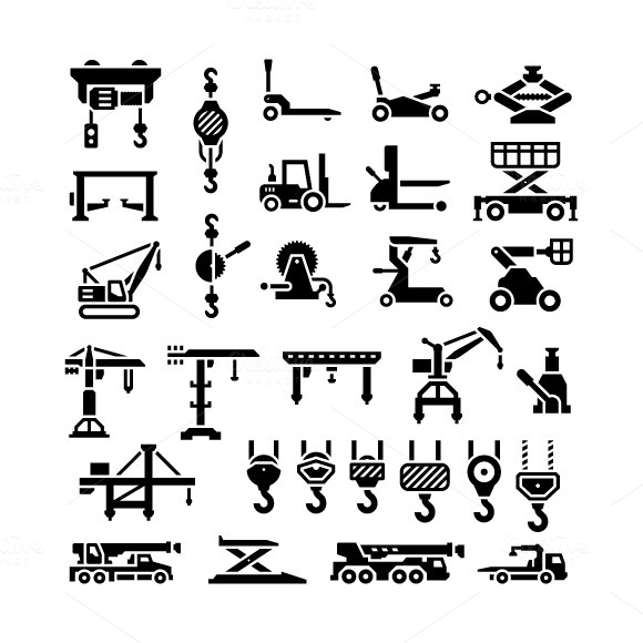 Set Icons Of Lifting Equipments