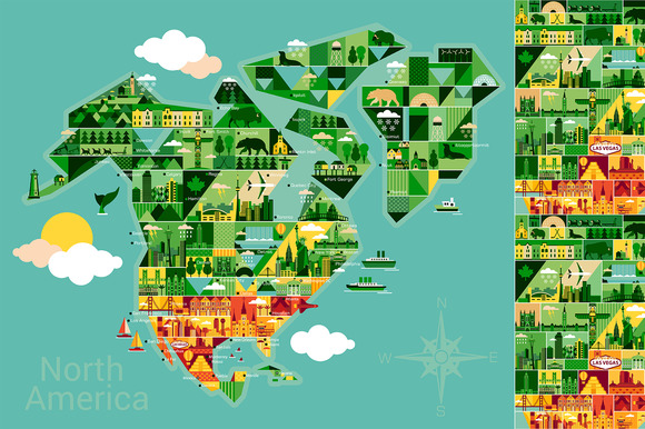 Cartoon Map Of North America