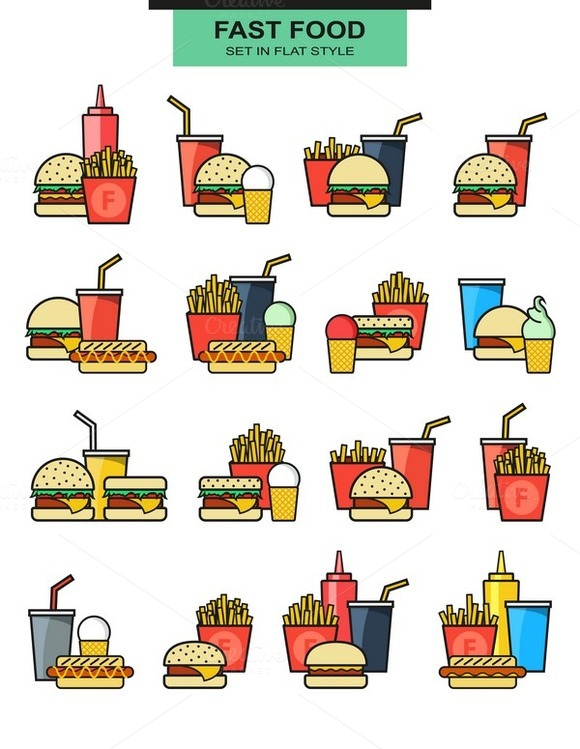 Set Burgers With Drinks Potato