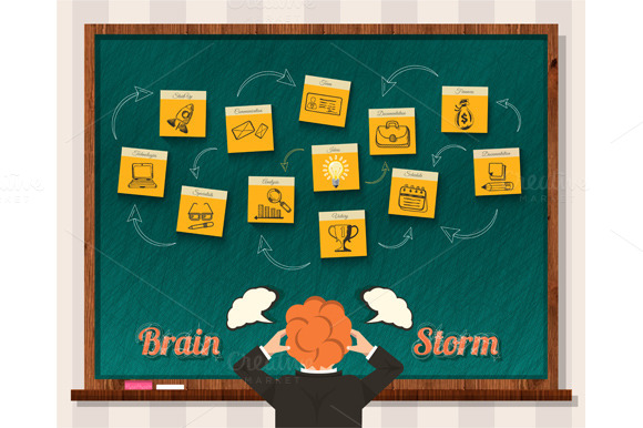 Brainstorm. Man and Blackboard - Illustrations