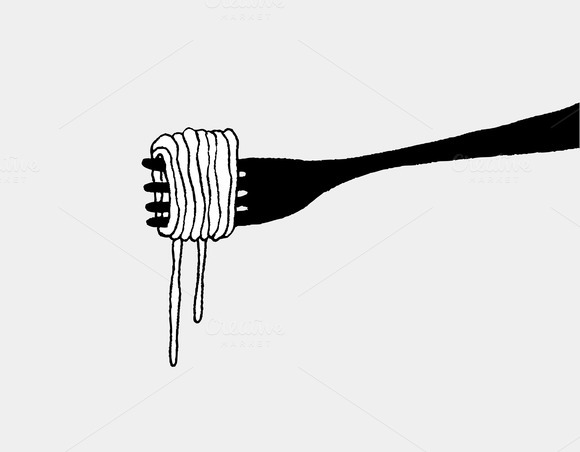 Spaghetti And Fork Silhouette
