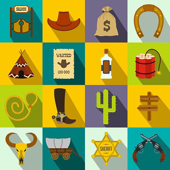 Wild West Cowboy Flat Icons