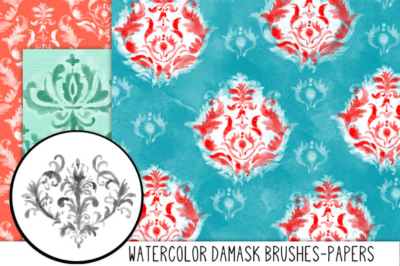 Hand Painted Damask Papers Brushes
