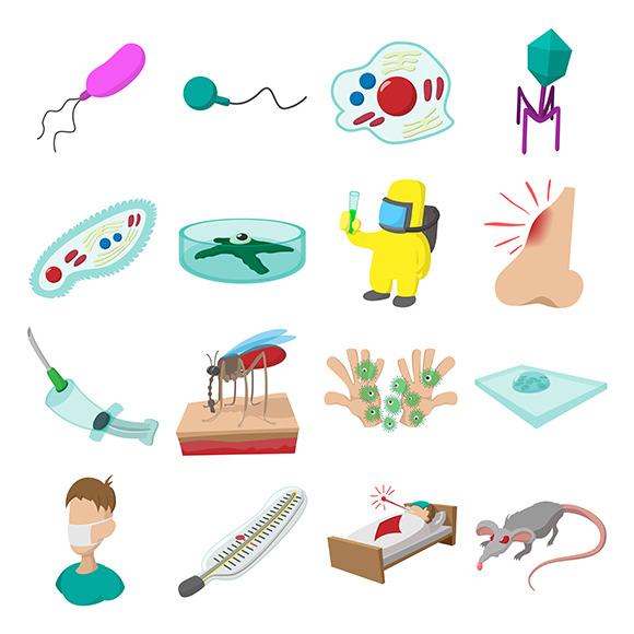 Virus Cartoon Icons Set