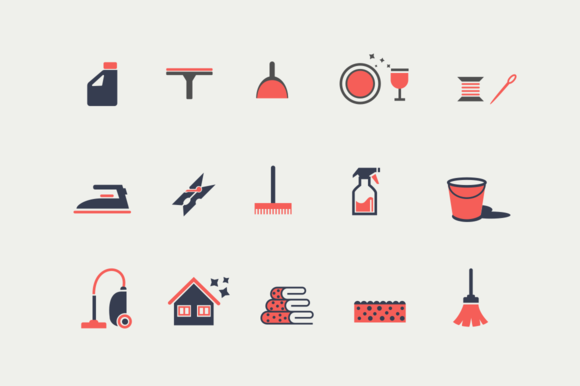 15 Housekeeping And Cleaning Icons