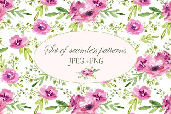 Floral set. Seamless patterns - Patterns