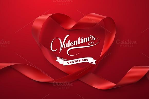Happy Valentines Day. Ribbon Hearts. - Illustrations