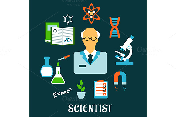 Scientist And Science Flat Icons