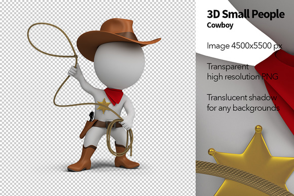 3D Small People Cowboy