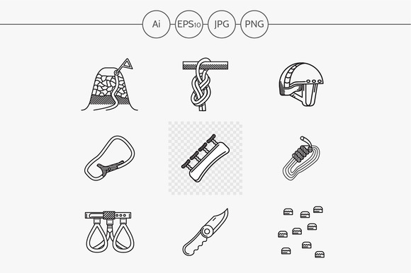 Mountaineering Line Icons Part 3