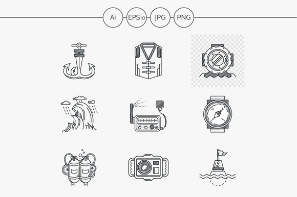 Diving flat line vector icon. Part 2 - Icons