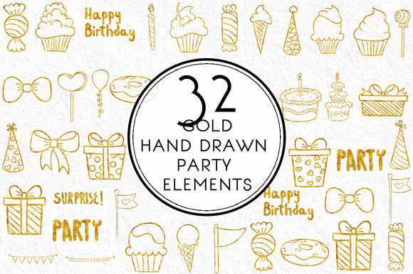 Gold Hand Drawn Party Elements