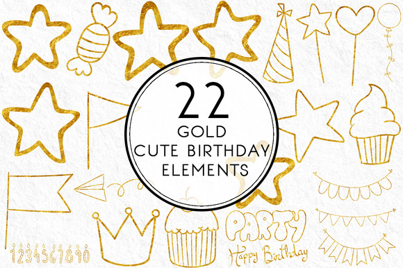 Gold Cute Birthday Elements