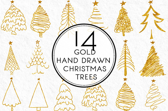 Gold Hand Drawn Christmas Trees