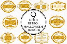 Gold Retro Halloween Badges