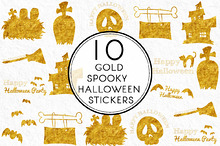 Gold Spooky Halloween Stickers