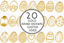Gold Hand Drawn Easter Eggs