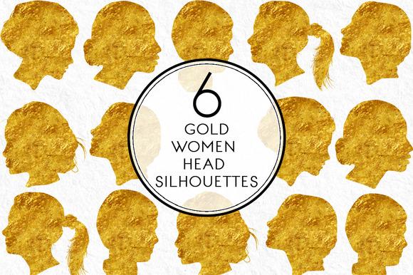 Gold Women Head Silhouettes