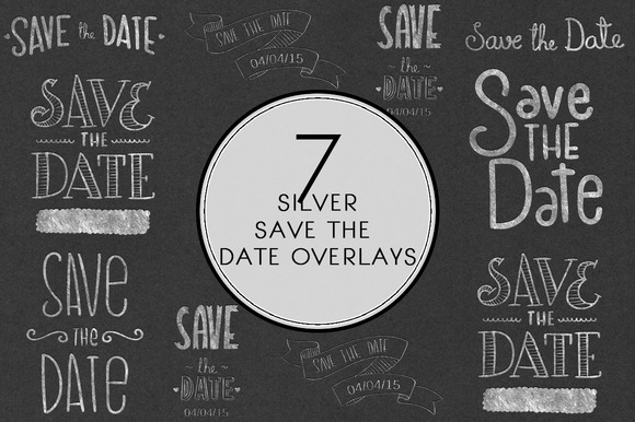 Silver Save The Date Overlays
