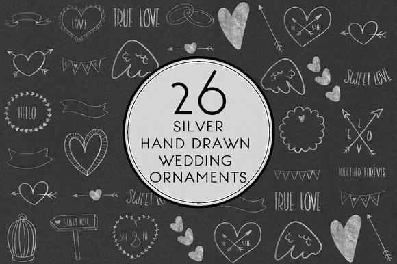 Silver Hand Drawn Wedding Ornaments