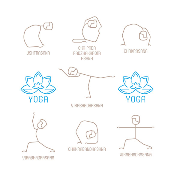 Yoga Poses Icons Lineart Style