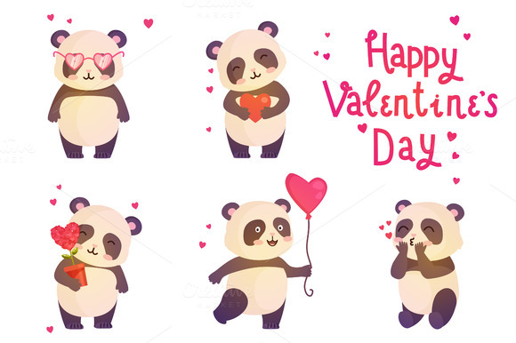 Set Of Cute Pandas Illustration