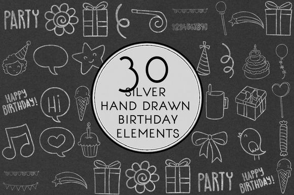 Silver Hand Drawn Birthday Elements