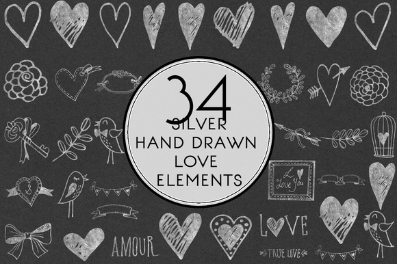 Silver Hand Drawn Love Elements