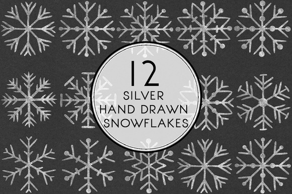 Silver Hand Drawn Snowflakes