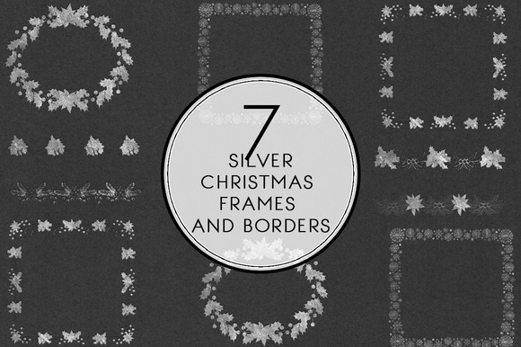 Silver Christmas Frames Borders