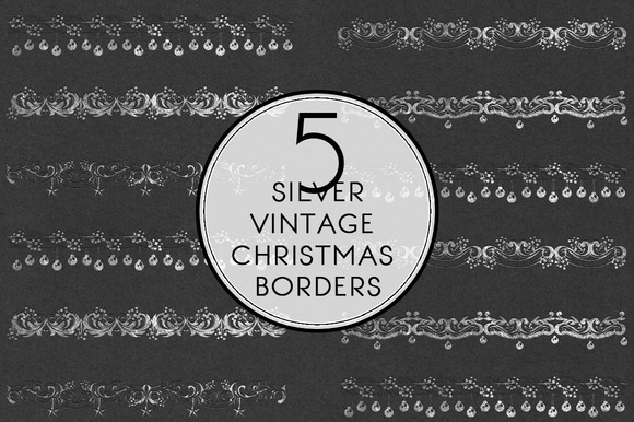 Silver Vintage Christmas Borders