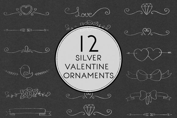 Silver Valentine Ornaments