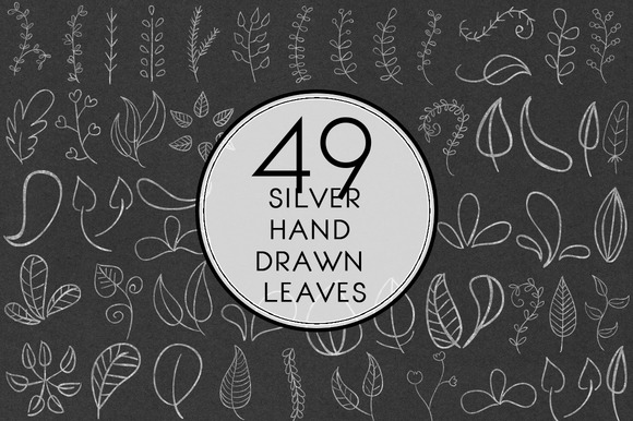 Silver Hand Drawn Leaves