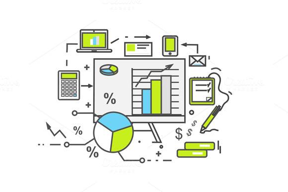 Data Analysis Icon Flat Design