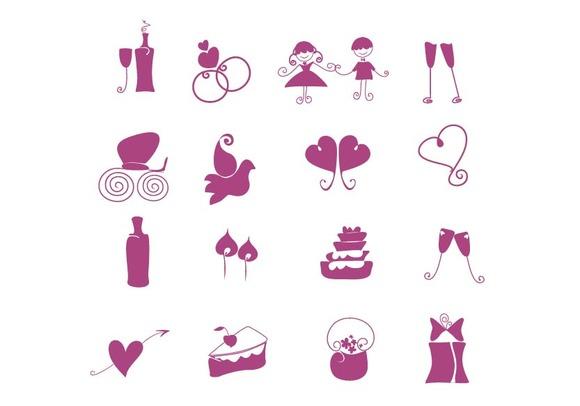 Hand Draw Wedding Icons Set
