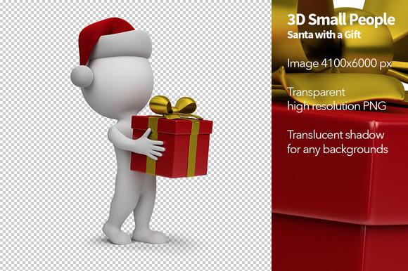 3D Small People Santa With A Gift