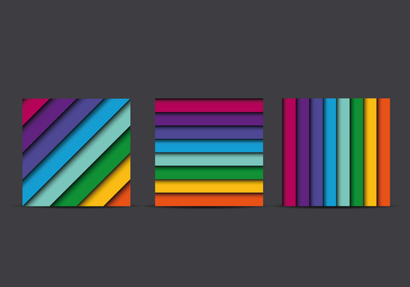 Colorful Square Lines Background Set
