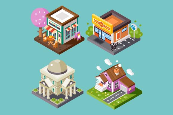 Nice City Isometric Buildings Set