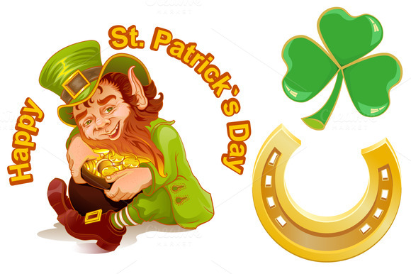 Patricks Day Leprechaun And Gold