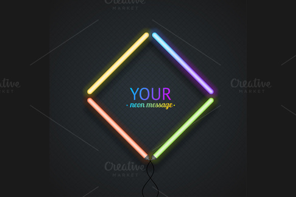 Colorful Neon Frame. Vector - Illustrations