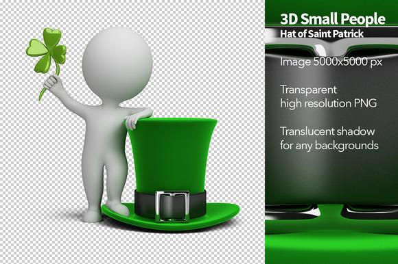3D Small People Saint Patrick