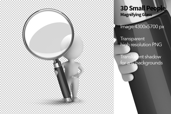 3D Small People Magnifying Glass